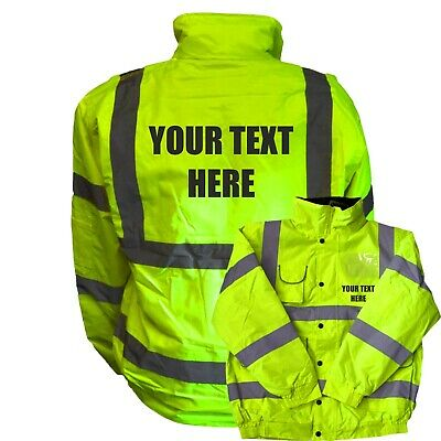 Custom Printed High Visibility Bomber Jacket Hi Vis Viz Personalised Safety
