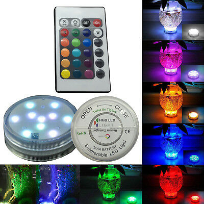 Waterproof LED Multi color Submersible Party Vase Base Light Lamp Remote Control