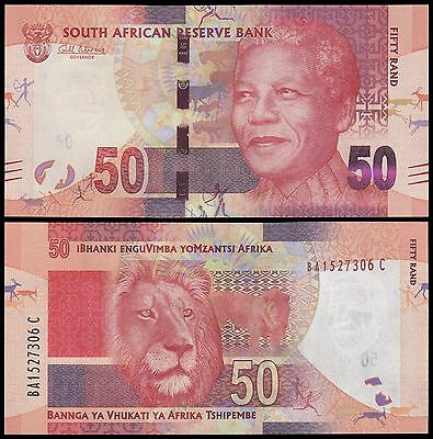 South Africa 50 Rand, 2012, P-135, UNC, Nelson Mandela, Lion