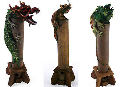 Large Wooden Handcrafted Incense Holder Gift Cat Lizard Dragon 40 cm Tall