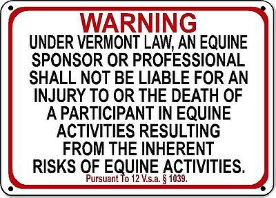 VERMONT Equine Sign activity liability warning statute horse farm barn stable