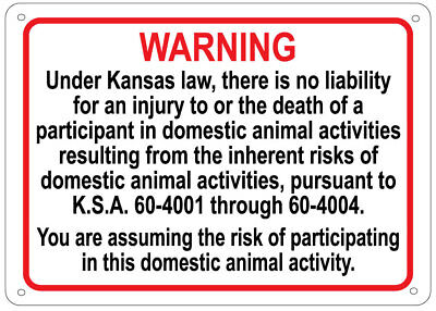 KANSAS Equine Activity Sign - liability warning statute horse farm barn stable