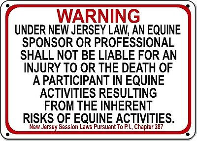 NEW JERSEY Equine Sign activity liability warning statute horse farm barn stable