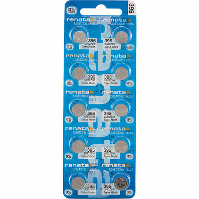 10 x Renata 395 Watch Batteries, 0% MERCURY equivalent SR927SW, Swiss Made