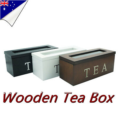 3 Compartment Wooden Tea Box Storage Antique Chest Tin Caddy with Glass Tea