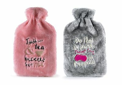 Deluxe 2 L Embroidered Hot Water Bottle Plush Faux Fur Fleece Cover Grey & Pink