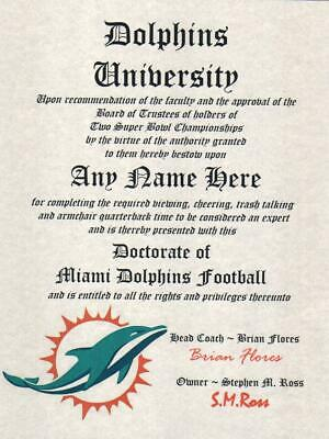 Miami Dolphins~  Man Cave ~ Certificate ~ Diploma Great Dilphins Gift