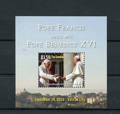 Gambia 2015 MNH Pope Francis Meets Pope Benedict XVI 1v S/S Vatican City Popes