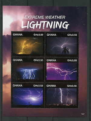Ghana 2015 MNH Extreme Weather Lightning 6v M/S Stamps
