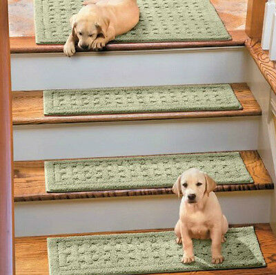 "SET OF 4 29"" BASKETWEAVE WASHABLE Cotton Non Slip INDOOR STAIR TREADS 7 Colors"