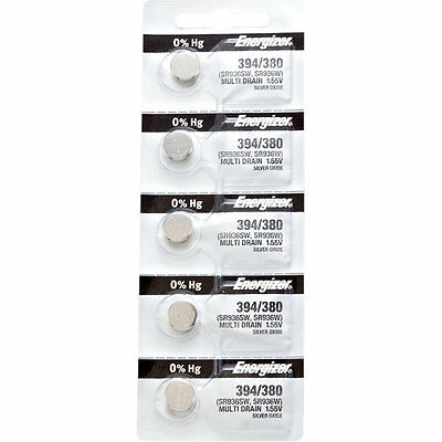 5 x Energizer 394 Watch Batteries, 0% MERCURY equivilent SR936SW or 380
