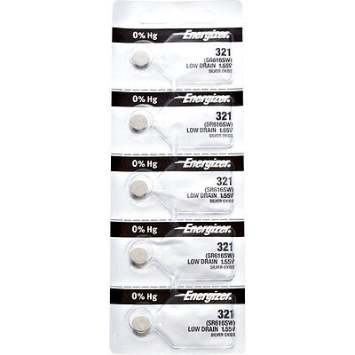 5 x Energizer 321 Watch Batteries, 0% MERCURY equivilate SR616SW