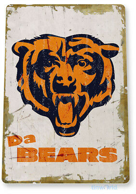 "TIN SIGN ""Chicago Bears Rustic"" Metal Decor Soldier Fiel Football Card Shop A918"