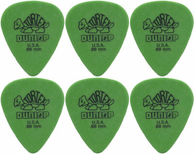 6 x Jim Dunlop Tortex Standard .88MM Gauge Guitar Picks *NEW* Plectrums, Green