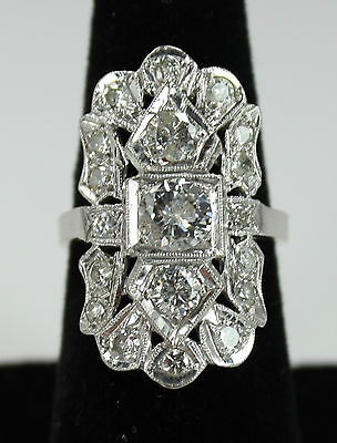 Antique Estate Art Nouveau Art Deco 14k White Gold 2.26ctw Diamond Ring c1920s