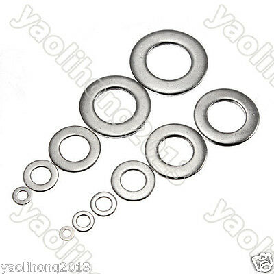 200PCS Type A2 Stainless Steel Bolt Flat Washers M3 M5 M6 M8 M10 M12 M16 M18 M20