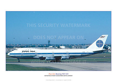 Pan Am Boeing 747 121 Departing Sydney A3 Poster Print Picture Photo Image