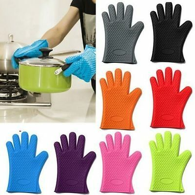 Kitchen Heat Resistant Silicone Glove Oven Pot Holder Baking BBQ Cooking Mitts S