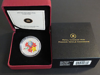 2013 Canada Proof $20 Murano Venetian Glass - Holiday Candy Cane