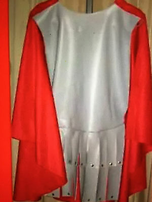 ROMAN SOLDIER GLADIATOR WARRIOR CENTURION -Gray Vinyl Costume red cloth cape-NEW
