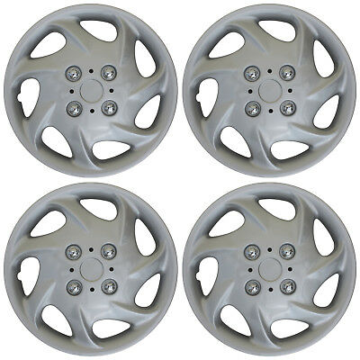 """4 pc NEW Universal HubCaps ABS Silver 15"""" Inch Wheel Cover Hub Caps Covers Cap"""