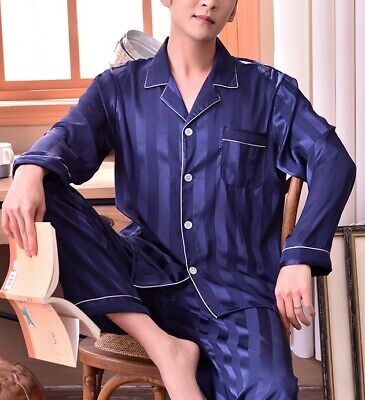 FALL SALE!   Mens Silk Satin Pajama Set US M L XL XXL 3XL Loungewear  USA SELLER