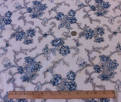 Antique French Blue Floral Old Chintz Fabric Picotage Ground c.1860~Quilters