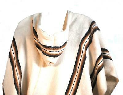 FairTrade Mens Alpaca Wool Hooded Peruvian Poncho Warm Shawl Festival Coat White