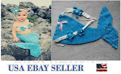 Baby Girl Crochet Handmade Mermaid Costume Photography Outfits-Top Notch