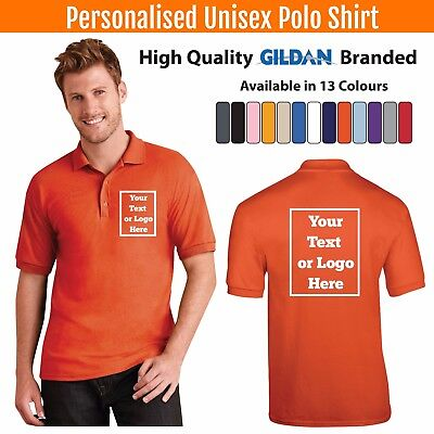 Custom Printed Polo Shirt Unisex Personalised Stag Workwear Event Gildan Polo