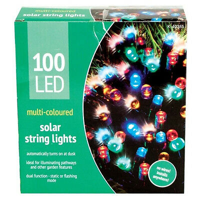 100 Bright Multi-coloured LED Solar String Lights With Static And Flashing Mode