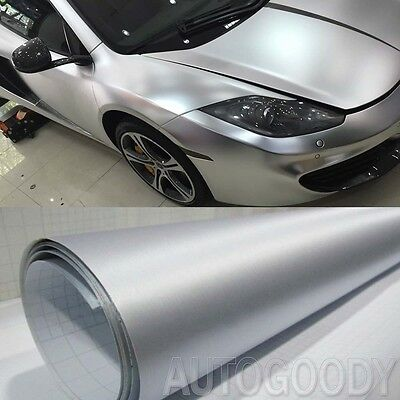 "12"" x 60"" Silver Brushed Aluminum Vinyl Film Wrap Sticker Decal Air Bubble Free"
