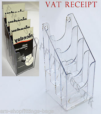 1/3rd of A4 4 Pocket Bay Leaflet Holder Counter Brochure Dispenser Display Stand