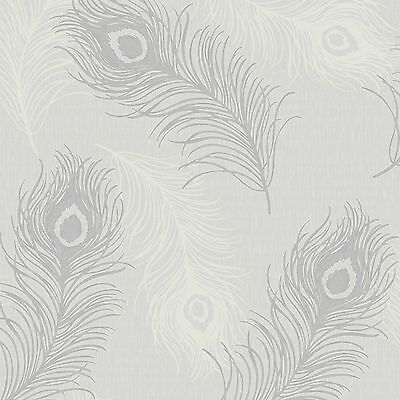 Viola Grey Peacock Feather Wallpaper Textured Vinyl Silver Glitter 40915