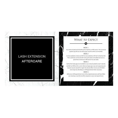LashArt 10 Eyelash Extensions Aftercare Card Leaflet with Retail Products Advice