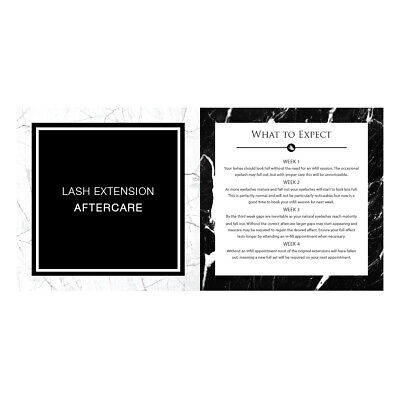 LashArt Aftercare Card Eyelash Extensions Full Instructions Included