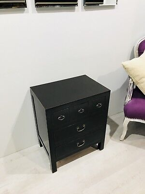 Oriental Chinese 5 Drawer Bedside Cabinet Chest Of Drawers