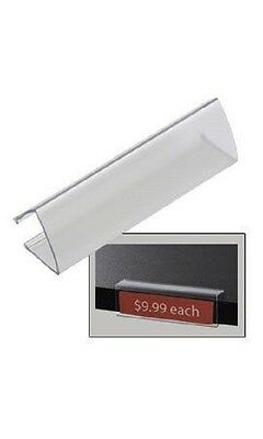 """10 Acrylic Clear Shelf  Tag Label Holder Holds 7/8"""" x 3-1/8"""" Tags"""