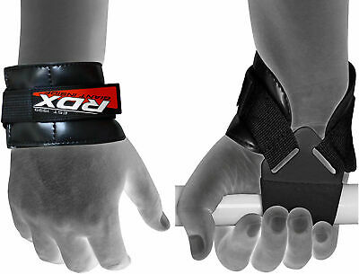 RDX Weight Lifting Reverse Training Gym Strap Gloves Wrist Grip Support Exercise