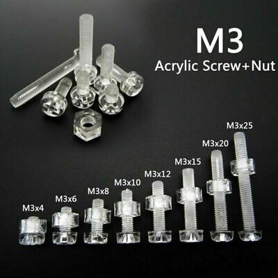 20PCS-100PCS M3 M4 M5 M6 PC Screws Nylon Screws Plastic Screws Nuts