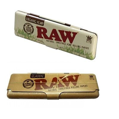 RAW Authentic Rolling Paper King Size Case Holder Tin - Classic or Organic