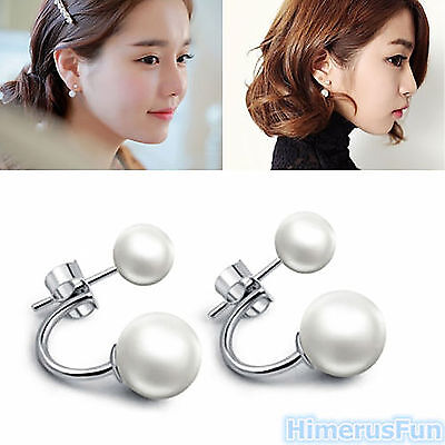 Fashion Crystal Rhinestone Jewelry Women Ear Stud Earrings Double Pearl