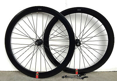 Stars Road Bike 700c Deep 50mm 8 9 10 speed Shimano Wheelset Wheels w Q.R. Black