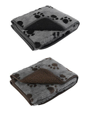 Pet Face Sherpa Fleece Dog Blanket Comforter Warm Faux Fur Paw Print Puppy Cat
