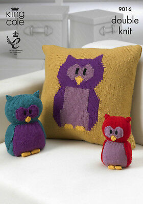 King Cole Double Knit DK Knitting Pattern Owl Motif Cushion Toy Doorstop 9016