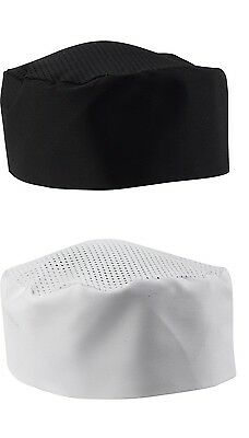 Mesh Top Skull Cap Professional Catering Chef Hat Black White Velcro Pack 1 or 5
