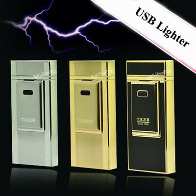 TIGER Touch Luxury Windproof USB Eletric Rechargeable Smoking Cigarette lighter
