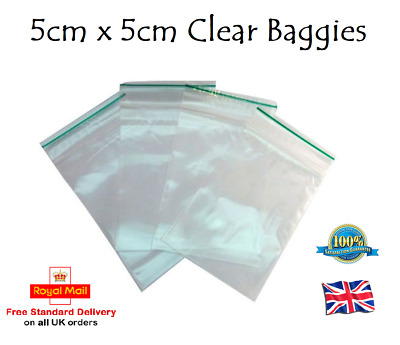 Small Plastic Bags Self Seal Resealable Baggy Jewellery Bag 5cm x 5cm CLEAR