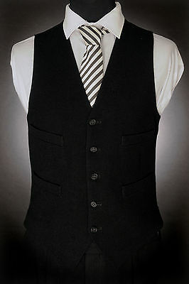 W - 498. Mens Black Formal Waistcoat