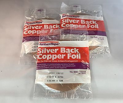 """7/32"""" Copper Foil SILVER BACK - 3 Rolls (Venture Tape), Stained Glass Supplies"""